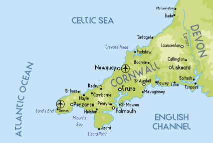 Kernow Blog - Map of Cornwall copyright Keith Littlejohns
